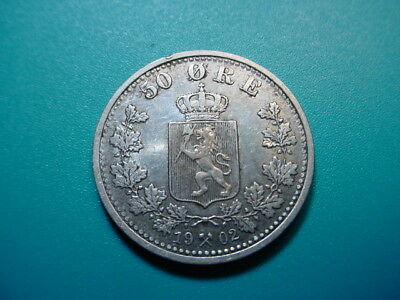 Norway~ Silver 1902 50-Ore in Excellent Condition!