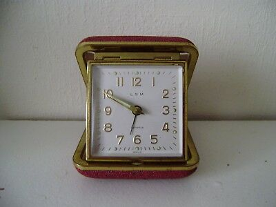 Vintage LSM Germany Swiss Movement Traveling Mantel Clock Red Hard Case No 3