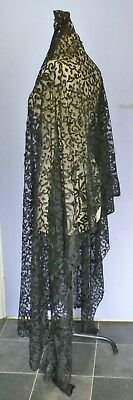 A Victorian Hand Made Silk Spanish Blonde Or Ret-Fi Lace Rectangular Shawl