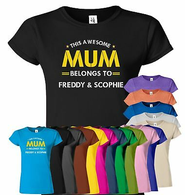 This Awesome Mum Belongs To Personalised Top Tee Mom Day Birthday Present Tshirt