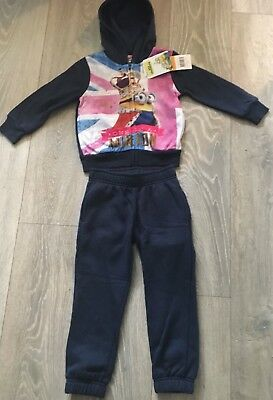 Girls Minion tracksuit hoodie jogging pants joggers outfit set NEW Age 3 4 6