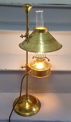 Brass Student Lamp Oil Light Adjustable Antique Edwardian Style Brass Shade