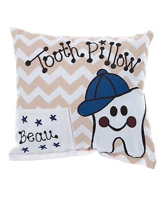 Personalized Tan Chevron Tooth Fairy Pillow