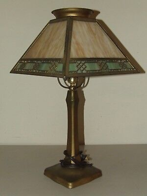 Antique Signed Handel Cast Iron Art Deco Tercota Slag Glass Table Lamp c.1910