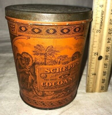 Antique Schepp's Cocoanut Tin Litho Pail Can Monkey Palm Tree Baking Coconut Old