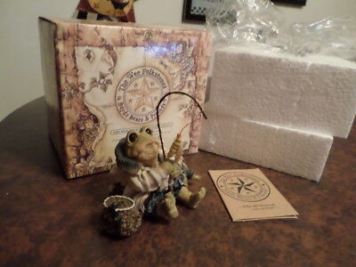 """BOYDS FOLKSTONE PICTURE FRAME /""""FROGMORTON AND TAD...FLY FISHING/"""" 1E-6601 NOS"""
