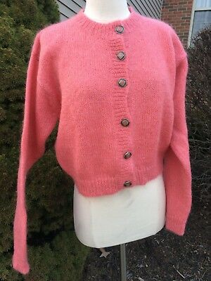 Vintage 1980s AUTOGRAPH MOHAIR Sweater Cardigan Coral Button Women S/M SMALL S