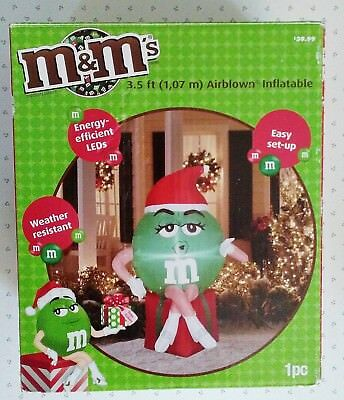 Official Licensed M&M 3.5 ft Christmas inflatable green girl in Santa hat