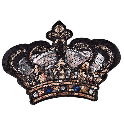 Large Crown Patch Badge Cartoon Sequin Iron On Sewing On For Clothes Stickers J&