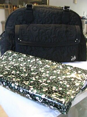 Vera Bradley Very Large Black Quilted Stroll Around Baby Diaper Bag NEW
