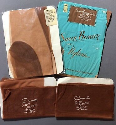 VINTAGE NYLONS STOCKINGS,  Seams, Flat Knit, Mesh,  4 Pair  Size 9 1/2 M-L NOS