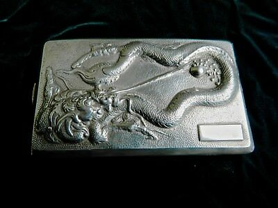 Antique Chinese Silver Cigarette Case W/embossed Dragon