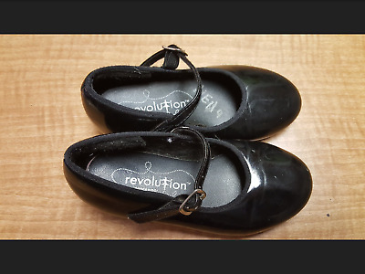 Revolution Girl's Size 12CH Black Dress Tap Shoes! Good Condition!
