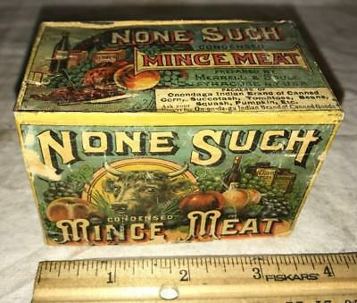 Antique None Such Mince Meat Cardboard Box Tin Cover Syracuse Ny Vintage Grocery