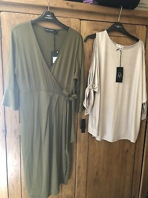 Next Ladies Maternity Khaki Dress & Cold Shoulder Top. Size 14 New With Tags