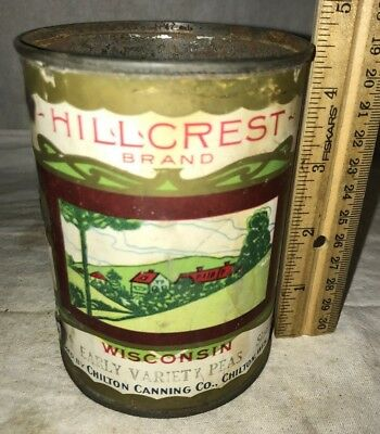 Antique Hillcrest Peas Chilton Wisconsin Wi Vintage Grocery Store Food Can Farm