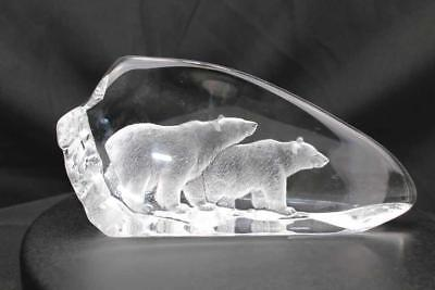 Hand Etched Crystal Polar Bears - Mats Jonasson - New From Gallery - (18470-183)