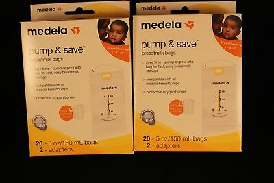 Two (2) Medela Pump and Save Breastmilk Bags 20 (40 total) Count with 2 Adapters