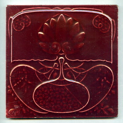 "Relief moulded 6"" square Japonaiserie tile by The Decorative Art Tile Co, 1903"
