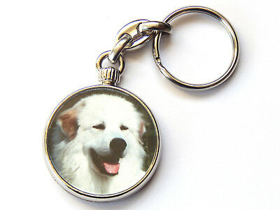 PYRENEAN MOUNTAIN DOG Dog Puppy Quality Chrome Keyring Picture Both Sides