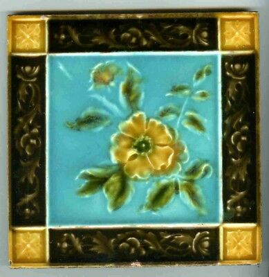 "Relief moulded 6"" square Edwardian tile by Henry Richards, c1903"