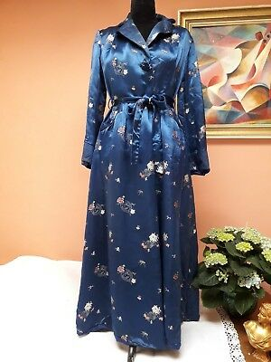 VINTAGE CHINESE DRESSING GOWN ROBE HEAVY SATIN ROYAL BLUE 1950s ORIGINAL