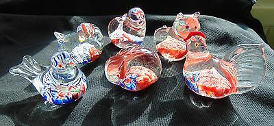 ❤ SIX (6) Hand Blown Animal Glass Paperweights Millefiori GIFT Collection!