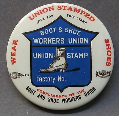 c. 1910  BOOT & SHOW WORKERS UNION advertising ROUND celluloid pocket mirror *