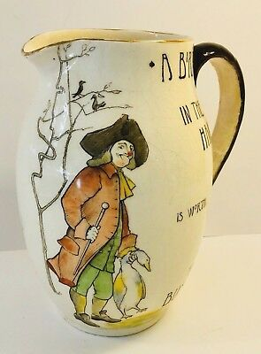 """ANTIQUE Royal Doulton Series Motto Ware Jug Pitcher """"A BIRD IN THE HAND"""""""