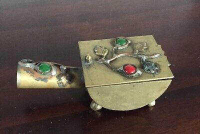 Vtg Chinese Brass Stamp Pill Box Red Green Colored Stones China Lid Handle