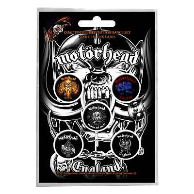 Motorhead badge pack England band logo albums new Official 5 x Pin Button