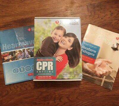 NEW AHA Family & Friends CPR Anytime, HeartSaver FirstAID,CPR,AED & Bloodborne..