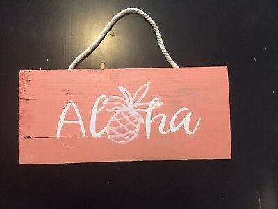 Handpainted Coral Aloha Wood Sign