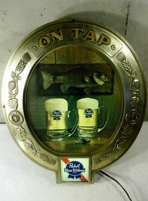 Vintage Pabst Blue Ribbon PBR Lighted Beer Pub Bar Sign ~NICE~