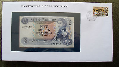 Banknotes of All Nations Mauritius 1967 5 Rupee UNC P 30c Prefix A/46