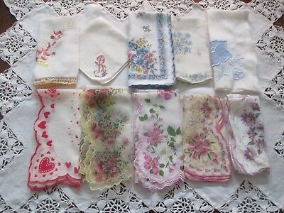 Vintage Handkerchiefs Hankies~ Mixed Lot of 10~Cutters Crafts