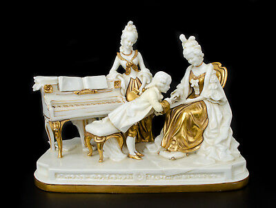 Large Scheibe Alsbach Boy with Two Ladies Piano Group Figurine Gold Gilt Gilded