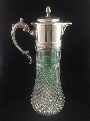 """Vintage Crystal Glass Silver Plate 14"""" Claret Decanter Pitcher Green Ice Insert"""