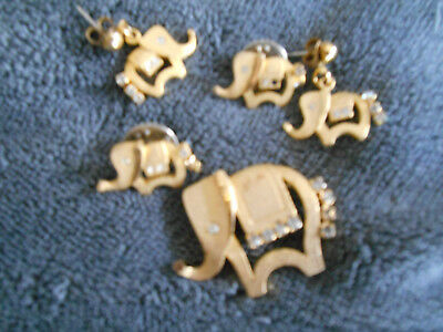 Elephant Earrings,  lapel pins  and brooch -  Vintage Gold tone Jewelry
