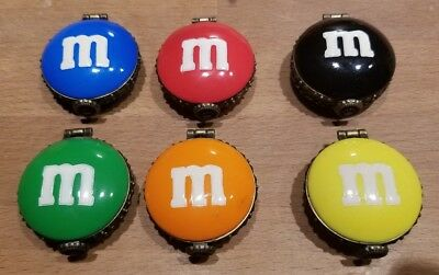 Lot of 6 M&M's Candy Boyds Bears Red Green, Yellow, Orange, Red, Black Charm Box
