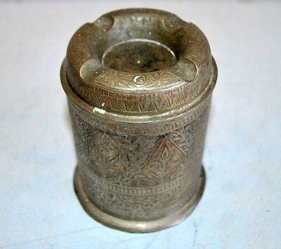 Old Antique Indian Brass Hand Carved Meenakari Tobacco Cigarette Box Ashtray
