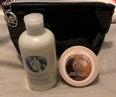 THE BODY SHOP Shea Shower Cream 250ml Unsealed + Black Cosmetic Bag - Brand New