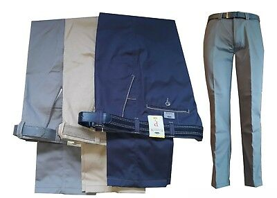 Mens Summer Chinos with Belt Trousers Casual Gentlemen Smart Wear Chino Pants