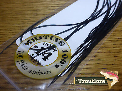#14 BLACK WHITING 100's PACK DRY FLY SADDLE HACKLE FEATHERS WHITING FARMS NEW