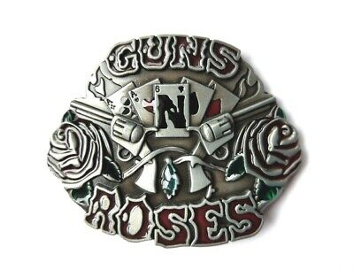 """Belt Buckle - Guns and Roses. Red Roses on Pewter Finish suit 1.5"""" Snap Belt"""