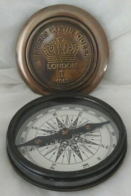 ANTIQUE STYLE BRASS '1953 LONDON'  COMPASS. New.