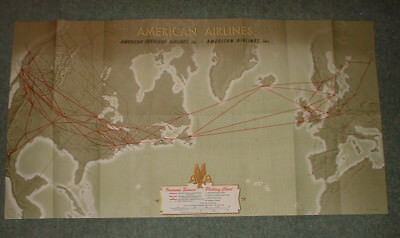 Usa 1949 American Airlines Poster Plotting Chart Flight Routes A Petruccelli