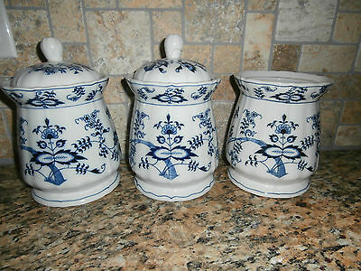 Blue Danube China~Lipper~3 Storage Counter Canisters /2 Lids Vintage Labels