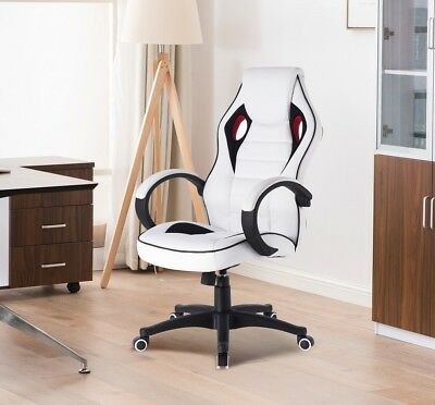 White Racing Style Home Office Gaming Chair Faux Leather Castors Gas Lift Swivel