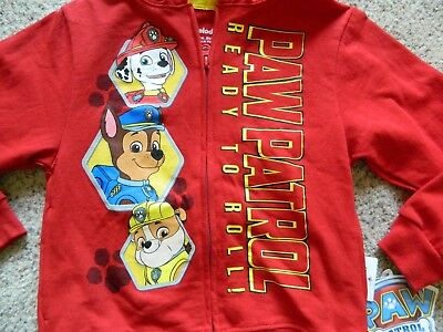 "Paw Patrol ""Ready to Roll"" red zippered hoodie boys size 4"